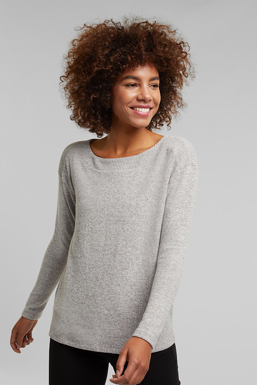 Brushed Longsleeve im Melange-Look