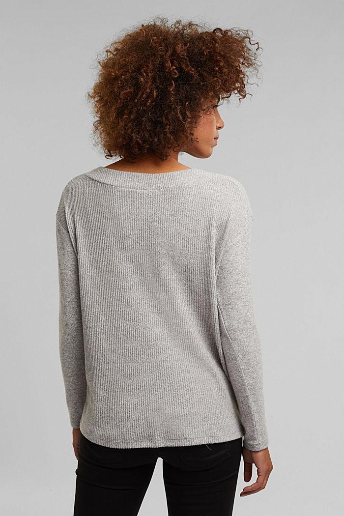 Long sleeve top in a brushed melange finish, MEDIUM GREY, detail image number 3