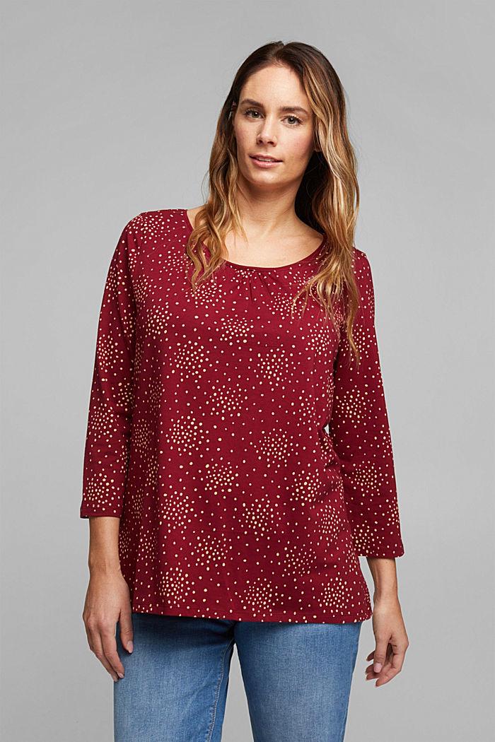 CURVY T-shirt met print en biologisch katoen, BORDEAUX RED, detail image number 0