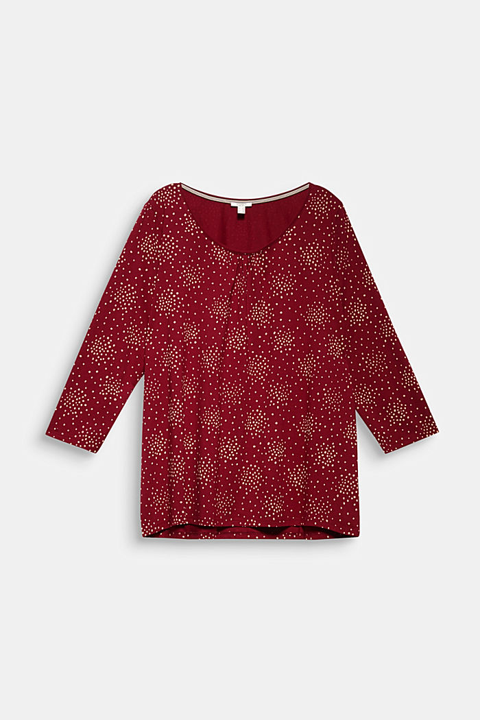 CURVY print T-shirt with organic cotton, BORDEAUX RED, detail image number 7