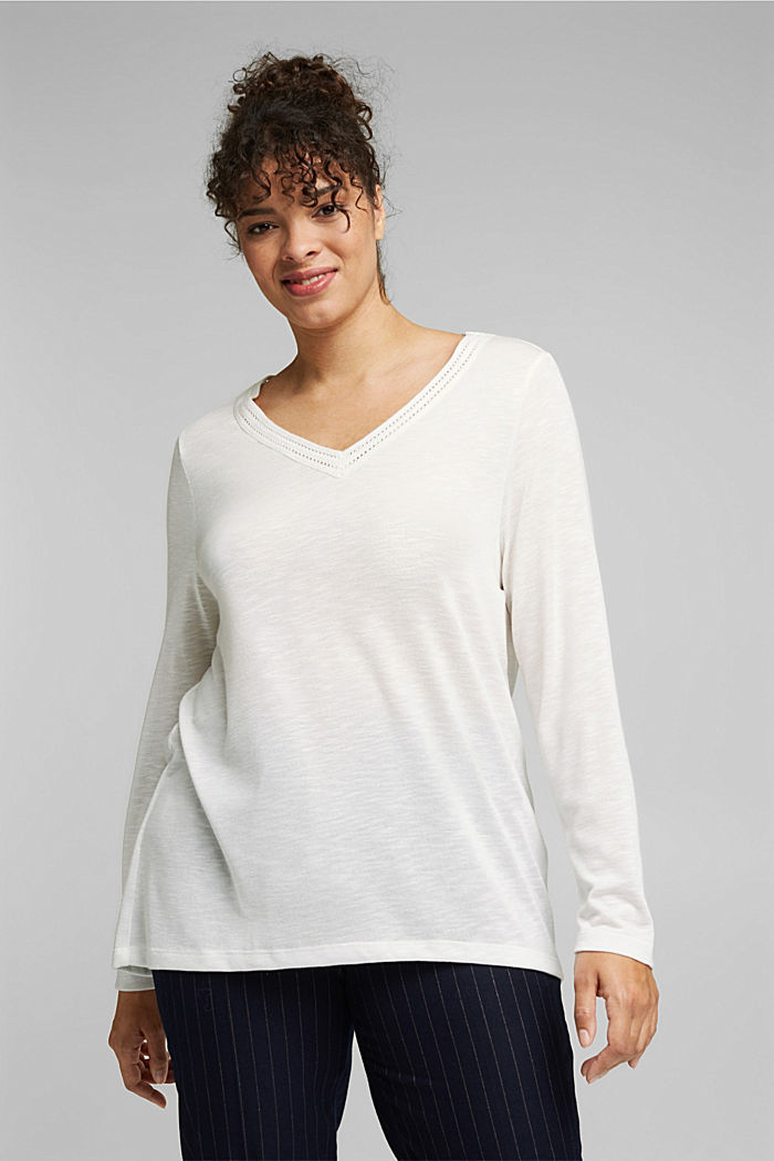 CURVY long sleeve top with embroidery