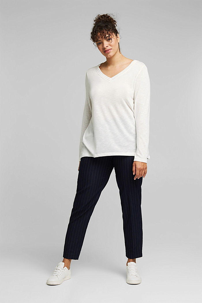 CURVY long sleeve top with embroidery, OFF WHITE, detail image number 1