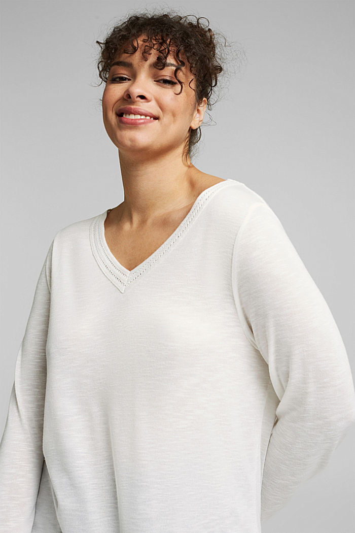 CURVY long sleeve top with embroidery, OFF WHITE, detail image number 5