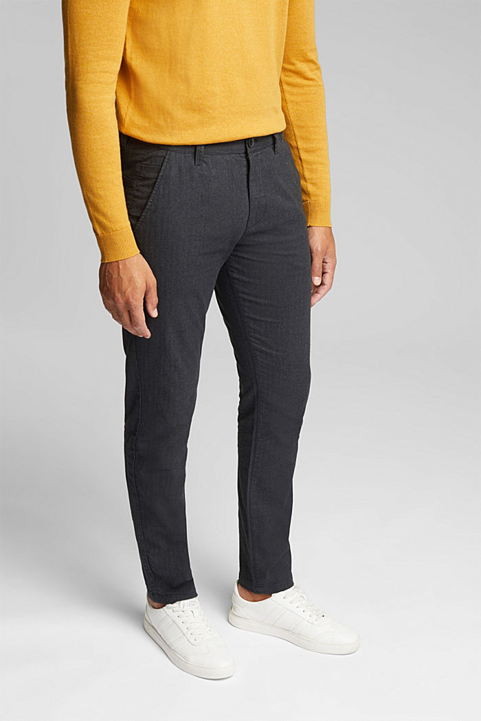 Herringbone trousers made of stretch organic cotton, ANTHRACITE, detail image number 0