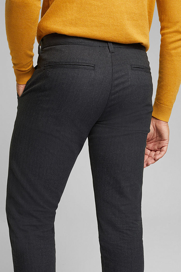 Herringbone trousers made of stretch organic cotton, ANTHRACITE, detail image number 2