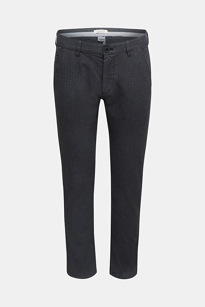 Herringbone trousers made of stretch organic cotton, ANTHRACITE, detail image number 5