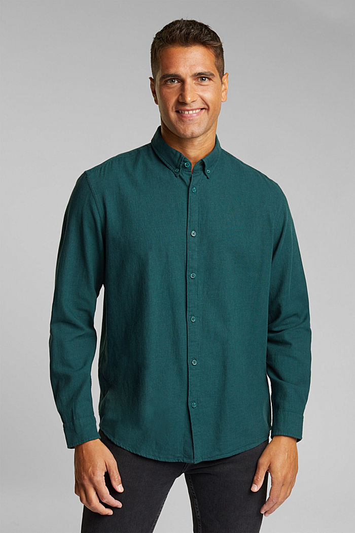 Flannel shirt made of 100% organic cotton, DARK TEAL GREEN, detail image number 0