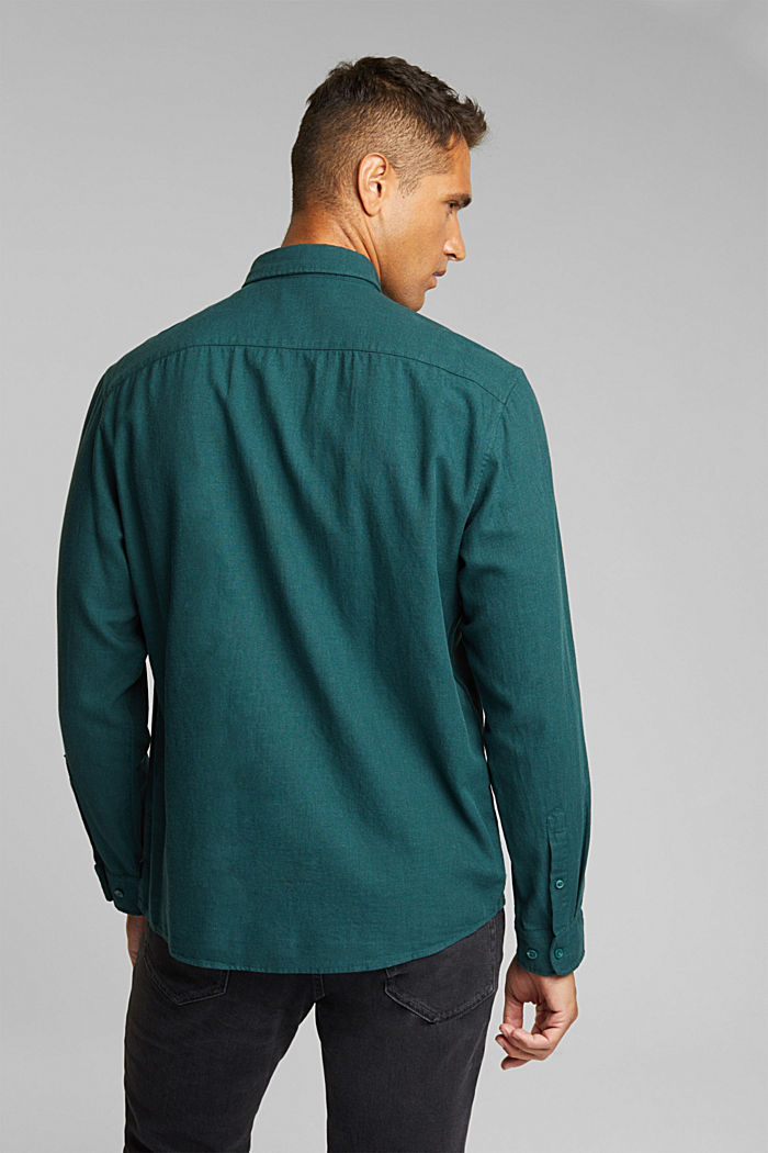 Flannel shirt made of 100% organic cotton, DARK TEAL GREEN, detail image number 3