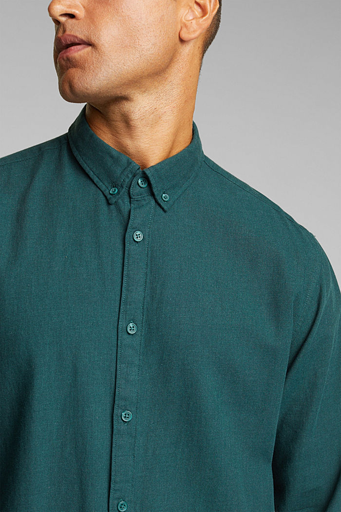 Flannel shirt made of 100% organic cotton, DARK TEAL GREEN, detail image number 2