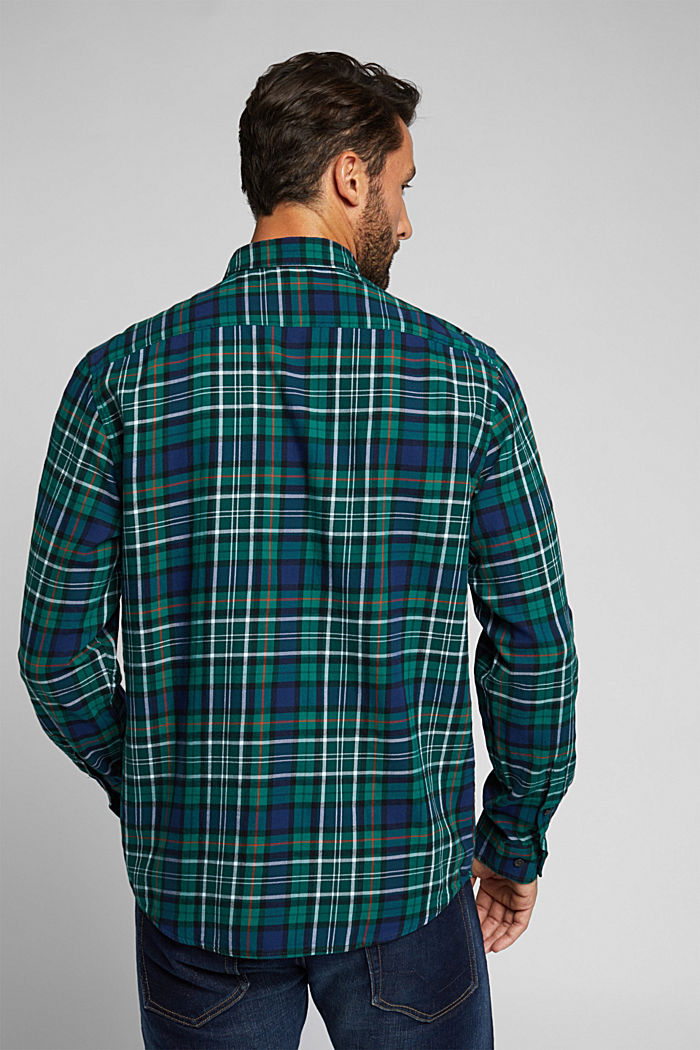 Check flannel shirt made of organic cotton, DARK TEAL GREEN, detail image number 3