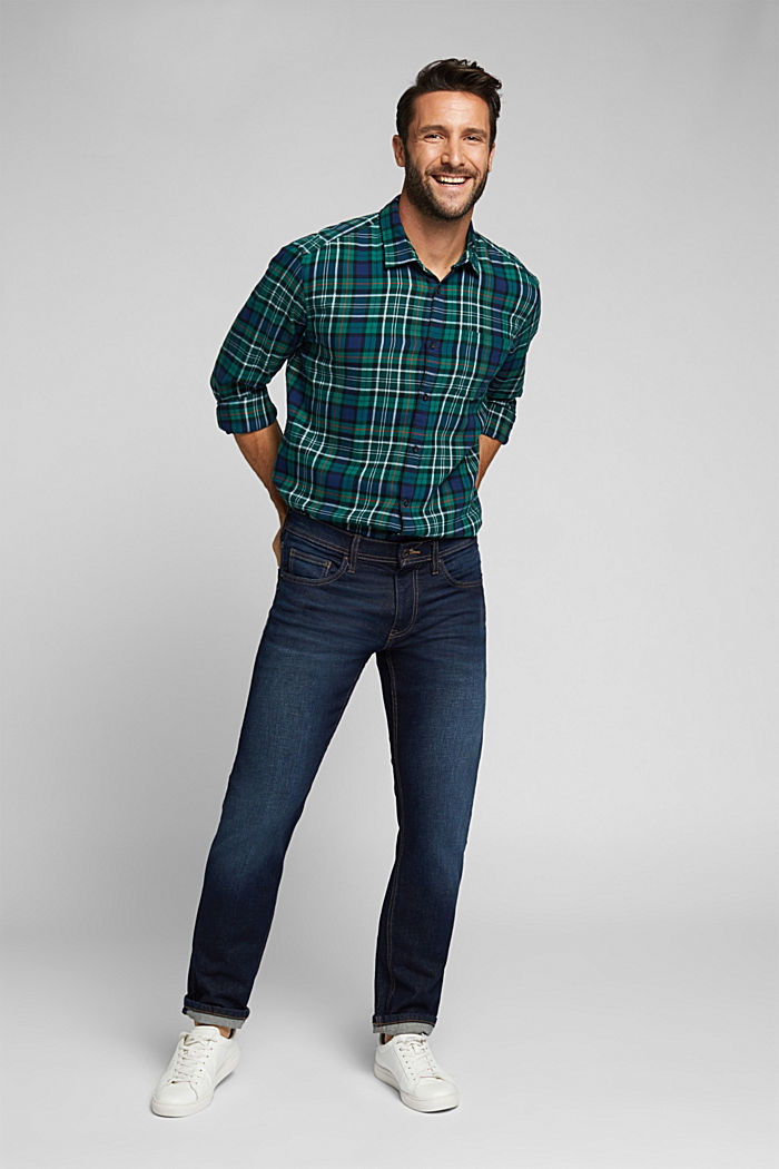 Check flannel shirt made of organic cotton, DARK TEAL GREEN, detail image number 1