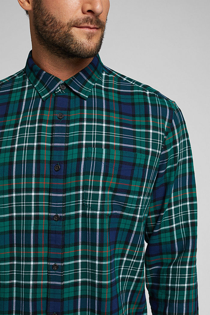 Check flannel shirt made of organic cotton, DARK TEAL GREEN, detail image number 2