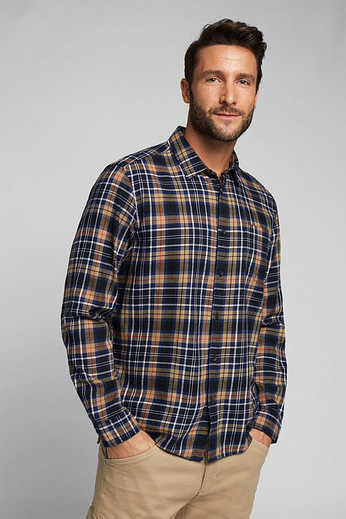 Check flannel shirt made of organic cotton, NAVY, detail image number 0
