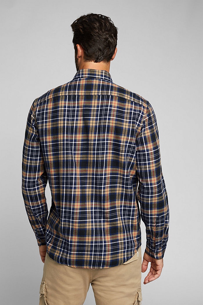 Check flannel shirt made of organic cotton, NAVY, detail image number 3