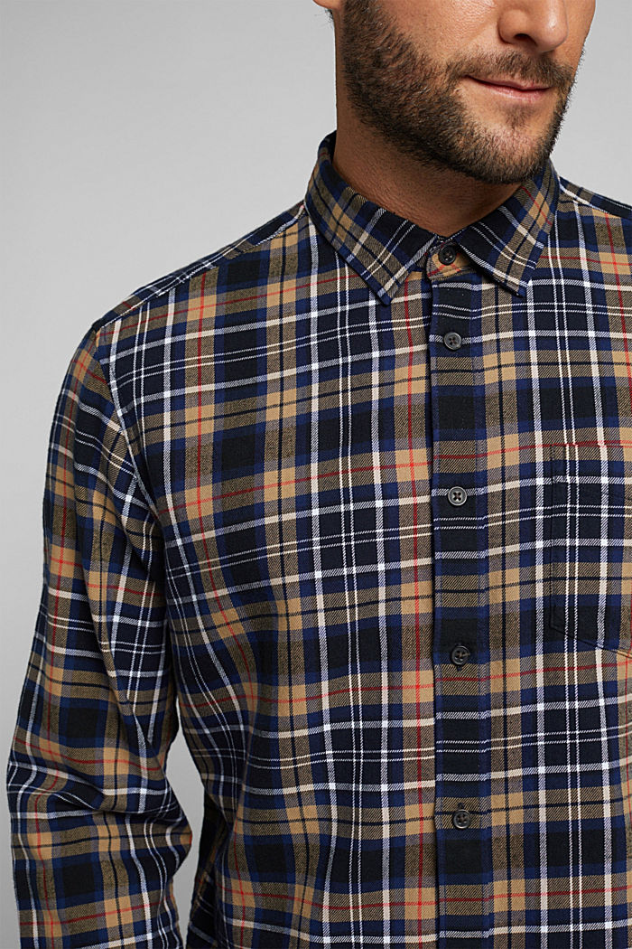 Check flannel shirt made of organic cotton, NAVY, detail image number 2