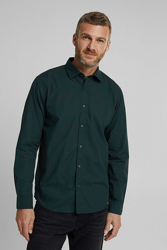 Print shirt made of 100% organic, DARK TEAL GREEN, detail image number 0