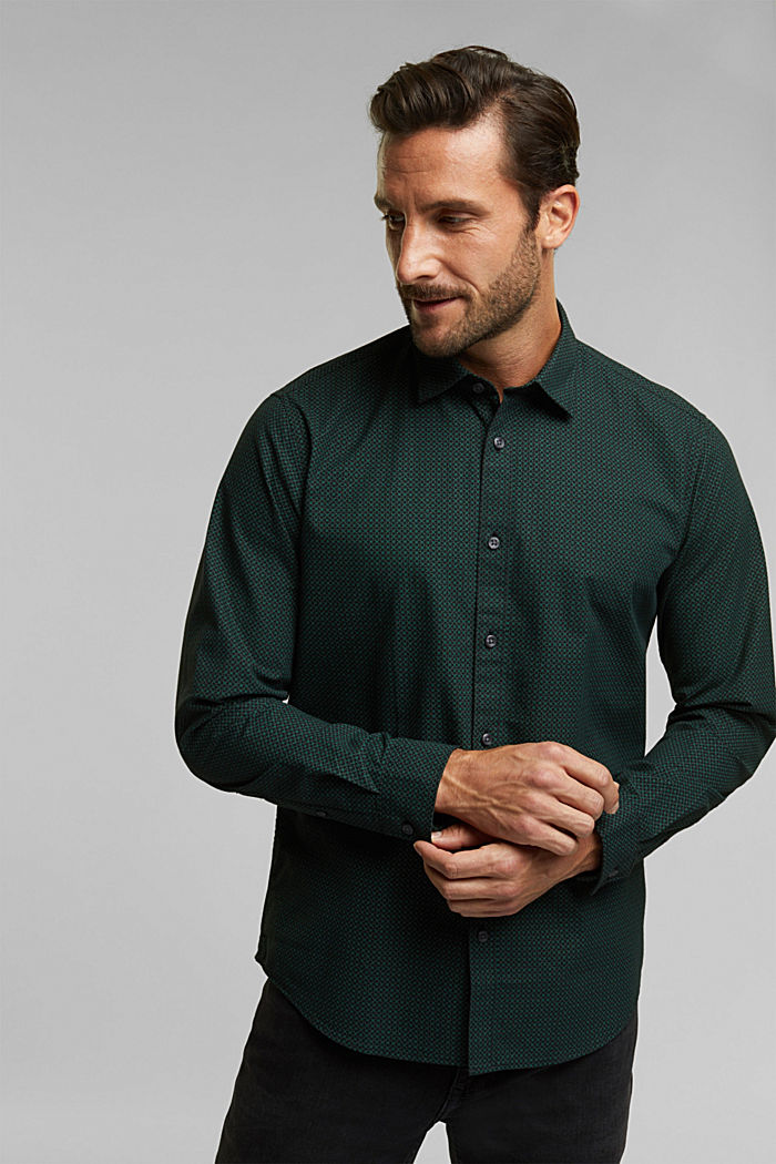 Shirt with a minimalist print, 100% organic cotton, DARK TEAL GREEN, detail image number 0