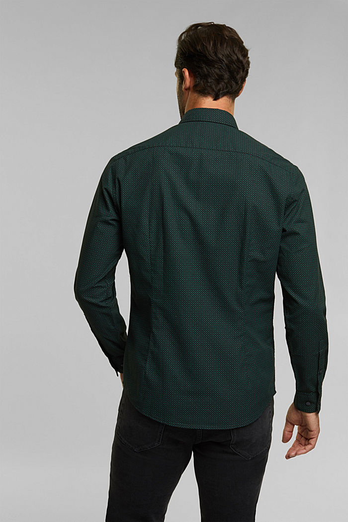 Shirt with a minimalist print, 100% organic cotton, DARK TEAL GREEN, detail image number 3