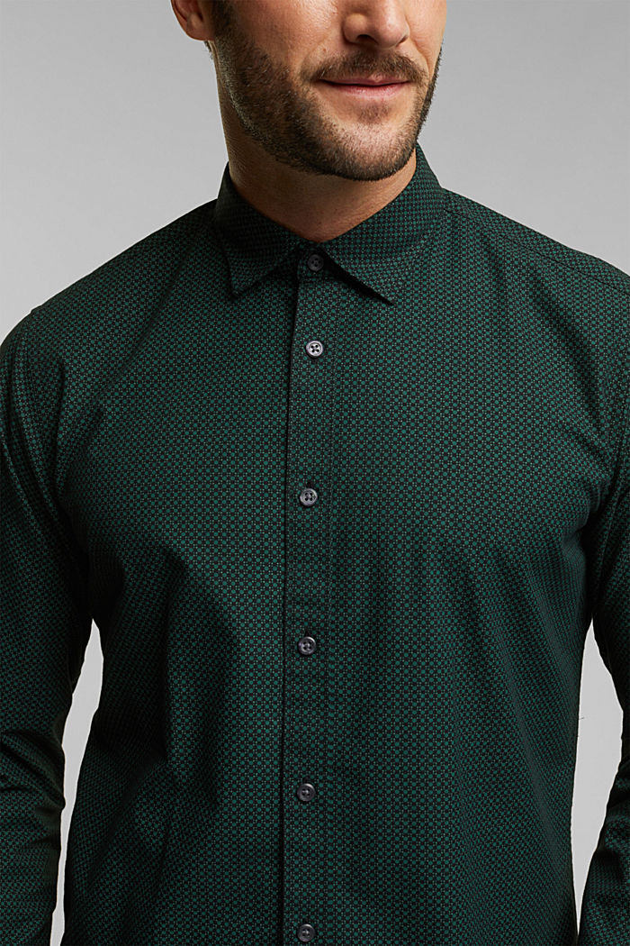 Shirt with a minimalist print, 100% organic cotton, DARK TEAL GREEN, detail image number 2