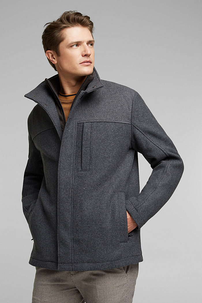 Padded outdoor jacket made of blended wool, GREY, detail image number 0