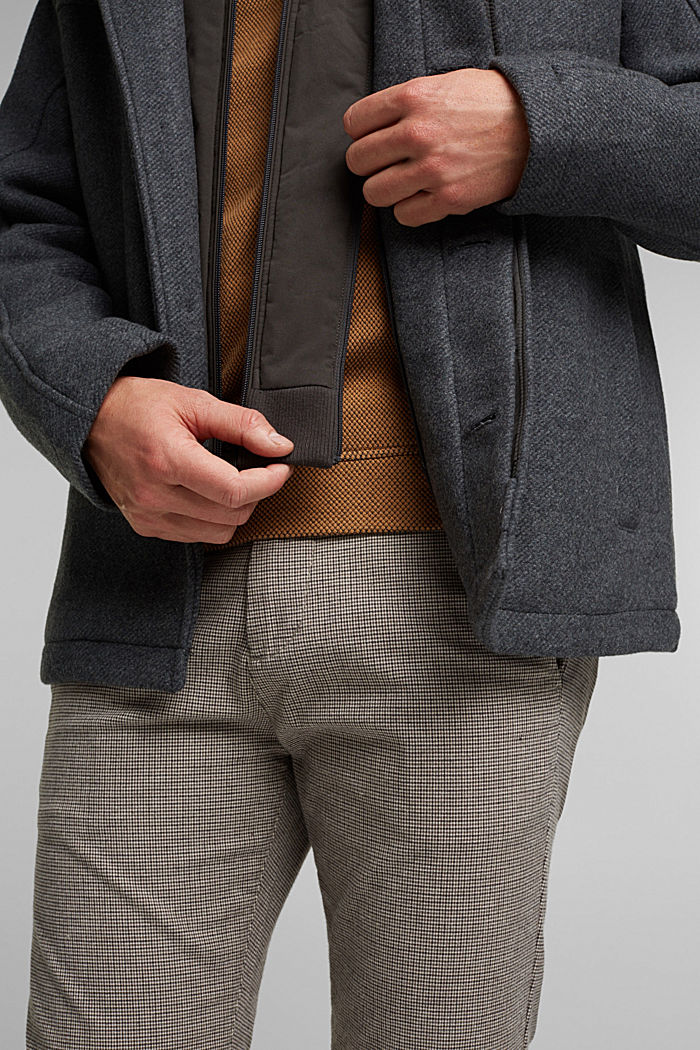 Padded outdoor jacket made of blended wool, GREY, detail image number 6