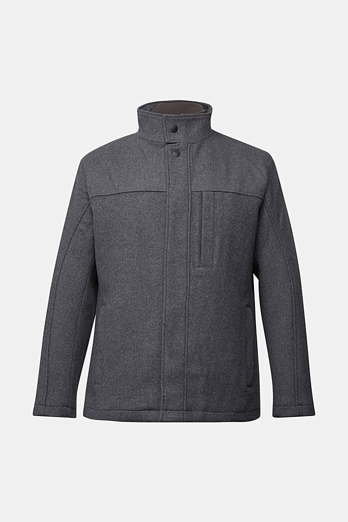 Padded outdoor jacket made of blended wool, GREY, detail image number 7