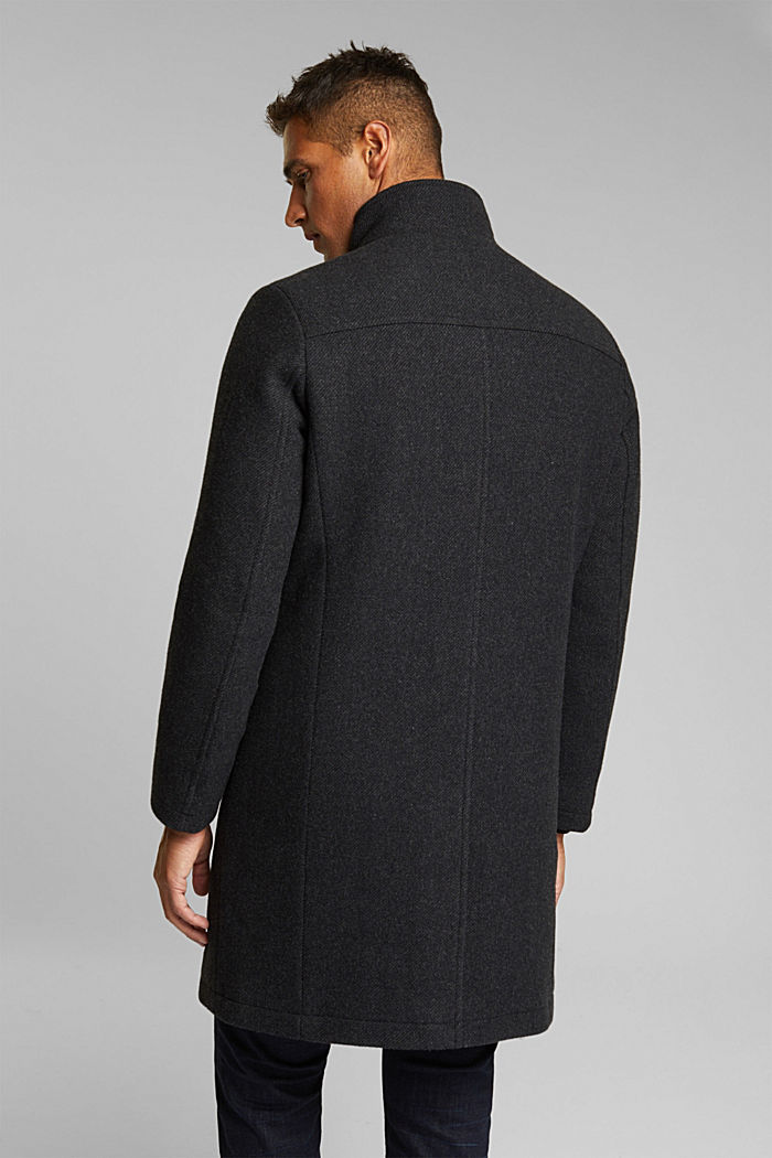 Blended wool coat with a two-in-one look, ANTHRACITE, detail image number 3