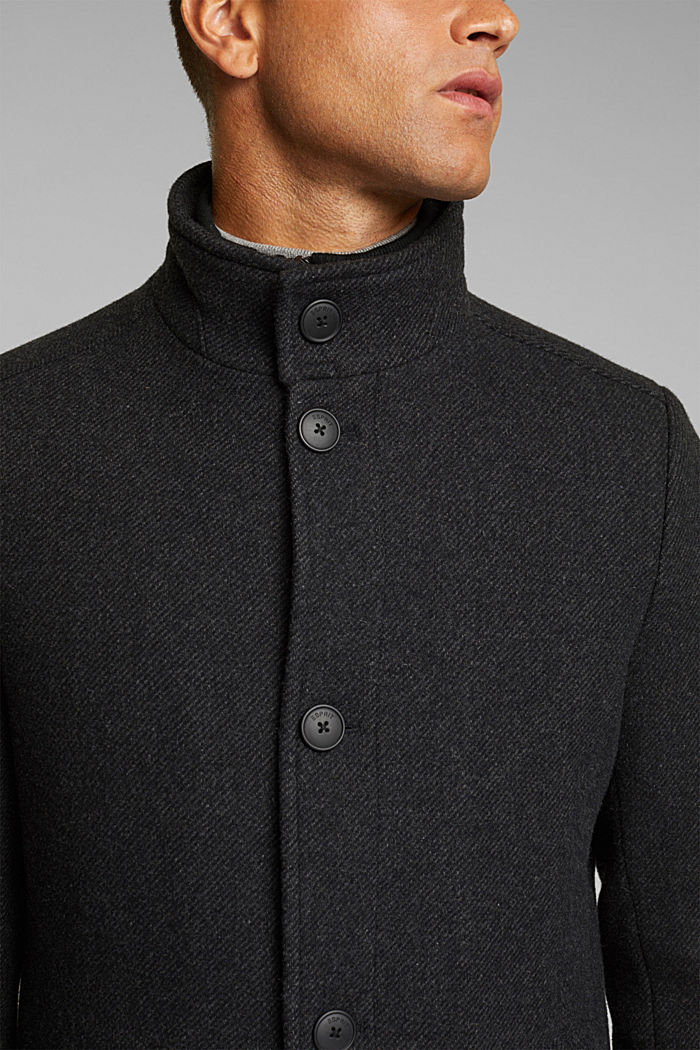 Blended wool coat with a two-in-one look, ANTHRACITE, detail image number 2