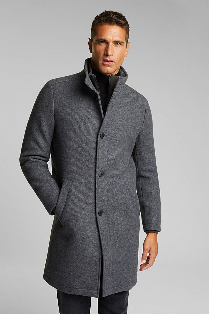 Blended wool coat with a two-in-one look, GREY, overview