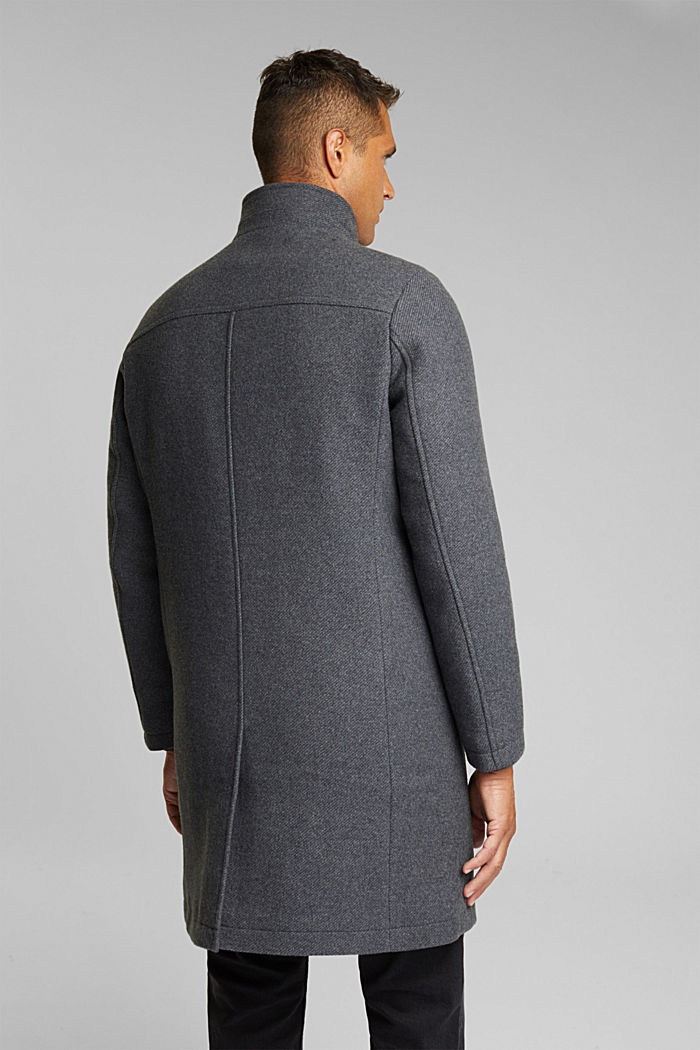 Blended wool coat with a two-in-one look, GREY, detail image number 3