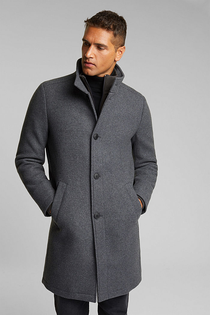 Blended wool coat with a two-in-one look, GREY, detail image number 4