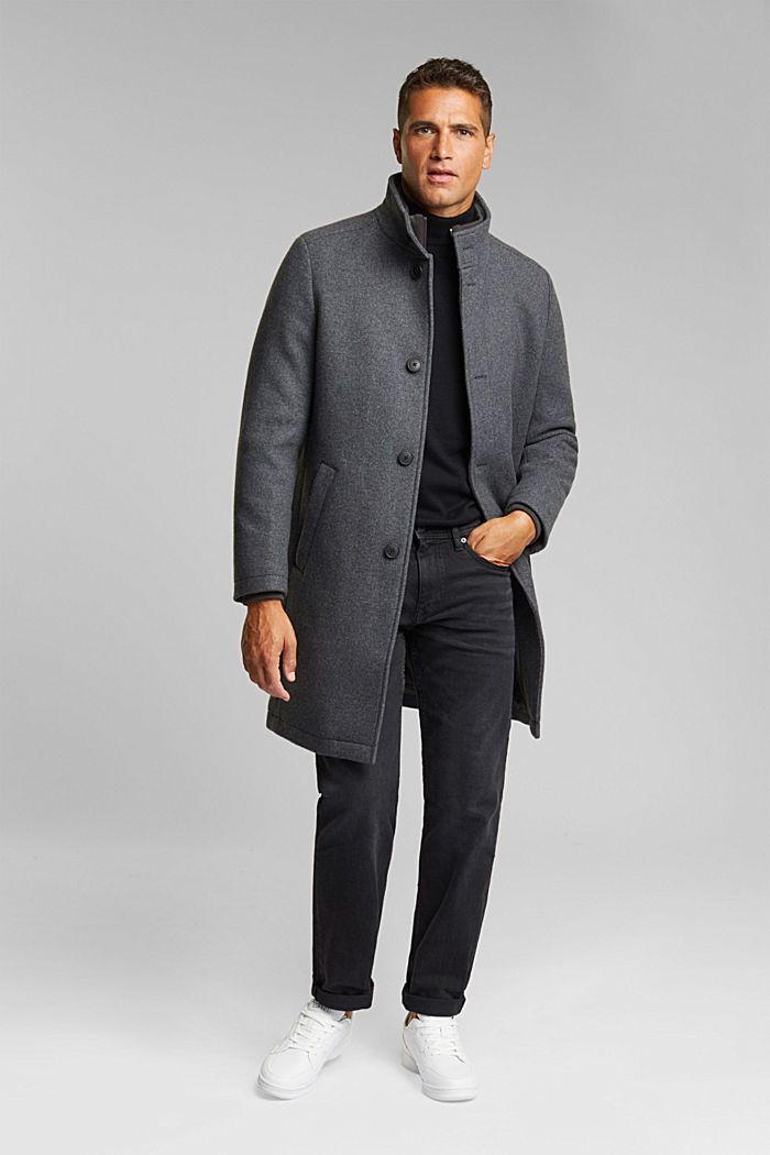 Blended wool coat with a two-in-one look, GREY, detail image number 1