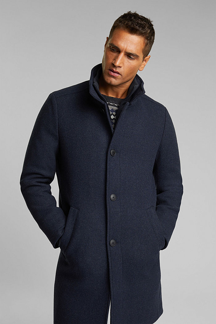 Blended wool coat with a two-in-one look, DARK BLUE, detail image number 0