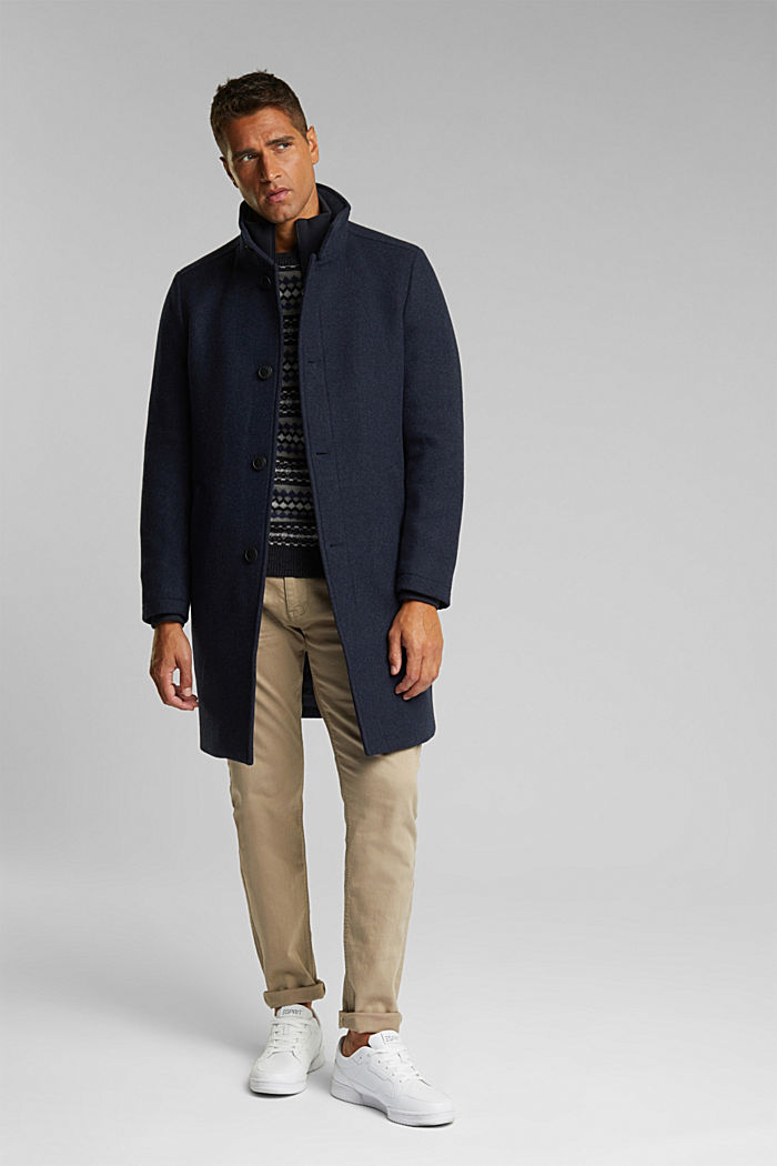 Blended wool coat with a two-in-one look, DARK BLUE, detail image number 1