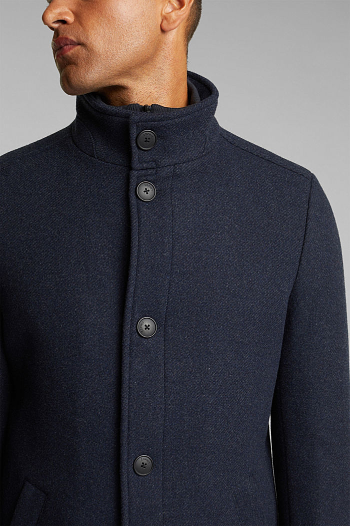 Blended wool coat with a two-in-one look, DARK BLUE, detail image number 2