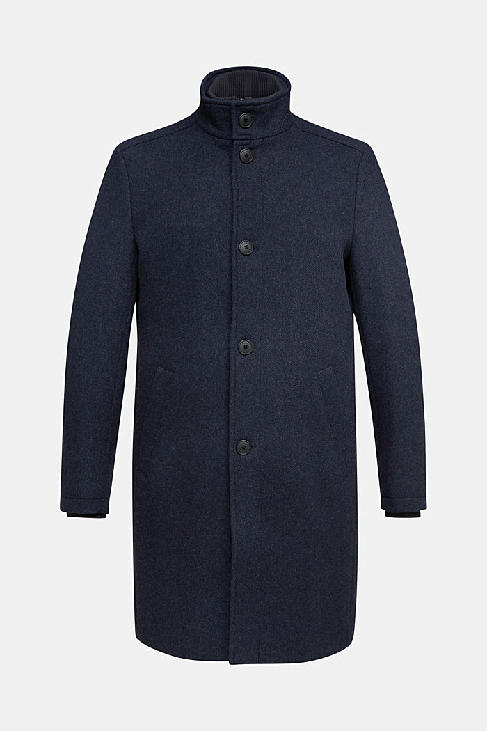 Blended wool coat with a two-in-one look, DARK BLUE, detail image number 5
