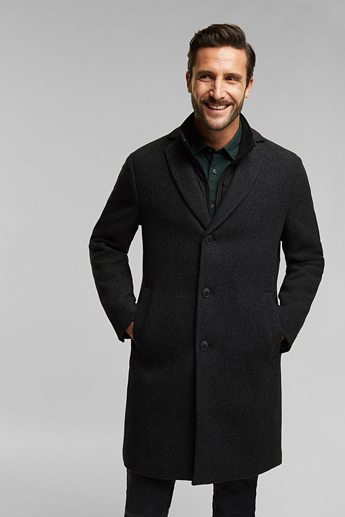 Wool blend: 2-In-1 coat, ANTHRACITE, overview