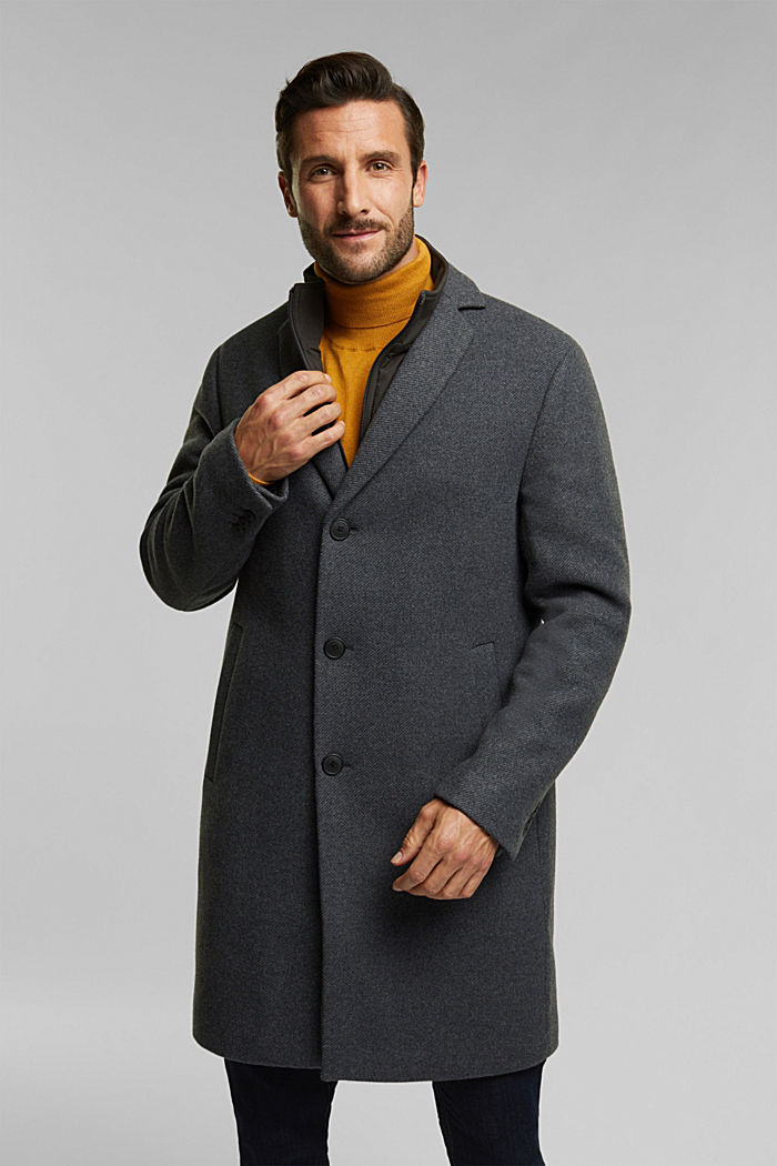 Wool blend: 2-In-1 coat, GREY, overview