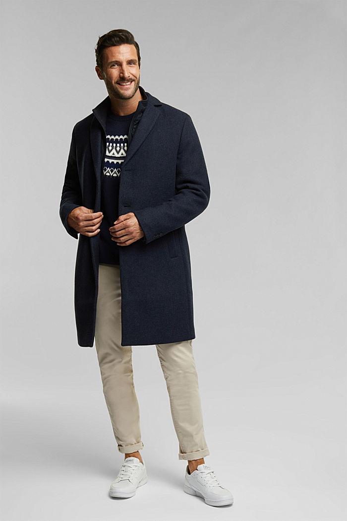 Wool blend: 2-In-1 coat, DARK BLUE, detail image number 1