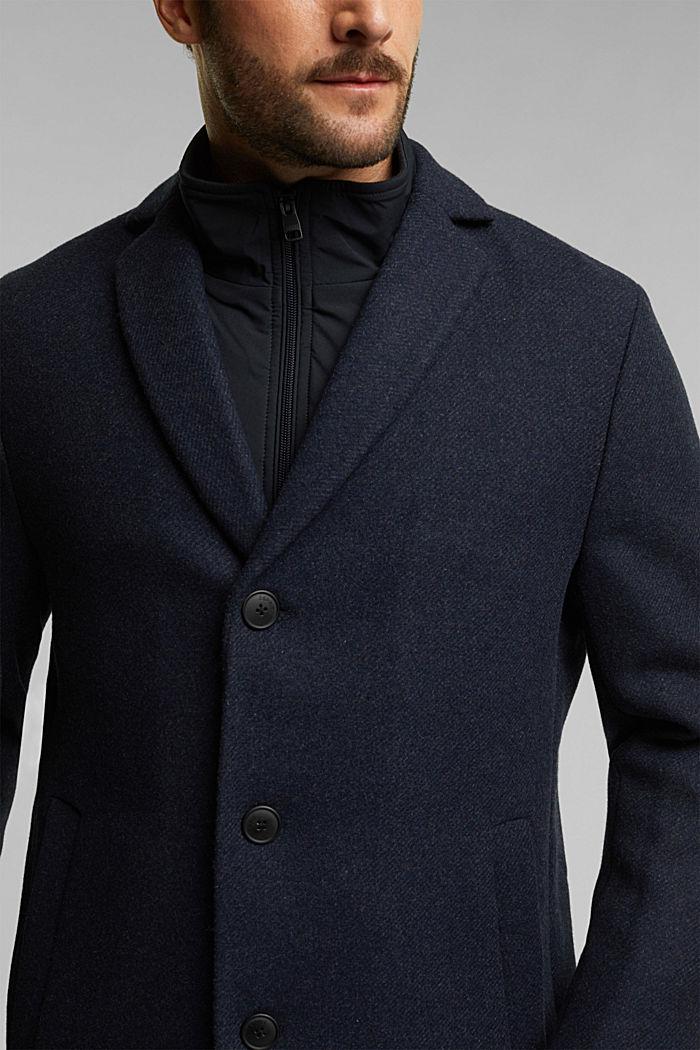 Wool blend: 2-In-1 coat, DARK BLUE, detail image number 2