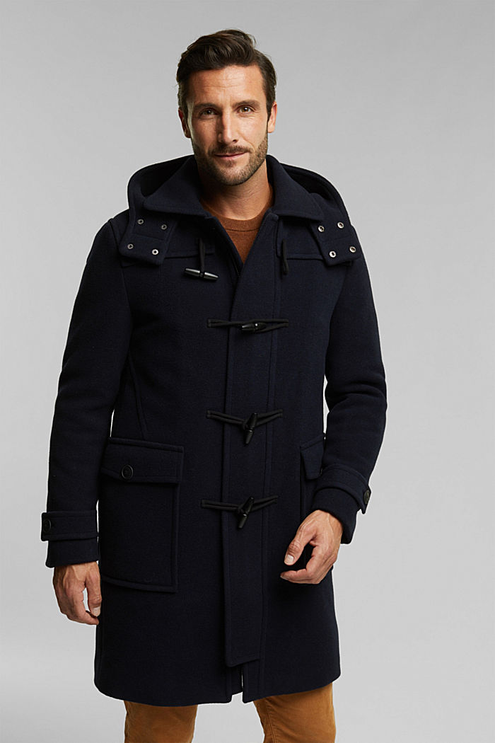 Made of blended wool: padded duffle coat