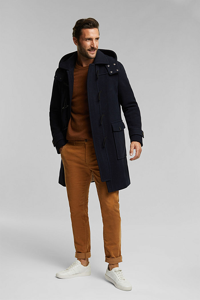 Made of blended wool: padded duffle coat, NAVY, detail image number 1