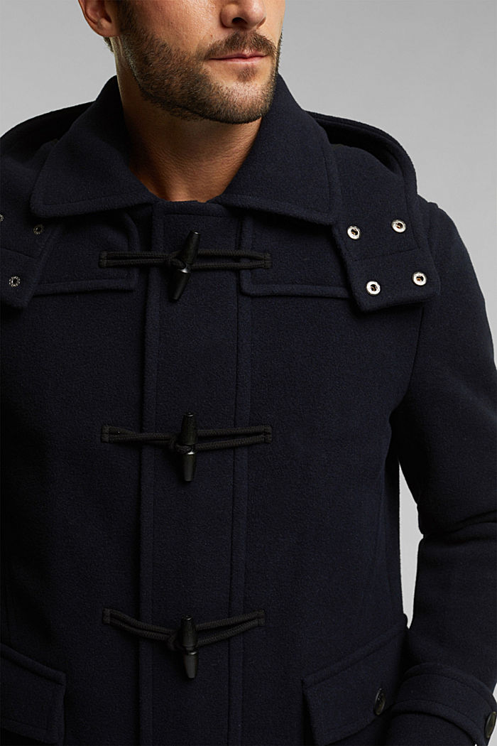 Made of blended wool: padded duffle coat, NAVY, detail image number 2