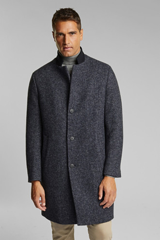 Recycled: padded coat in blended wool