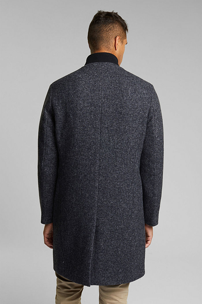 Recycled: padded coat in blended wool, DARK GREY, detail image number 3