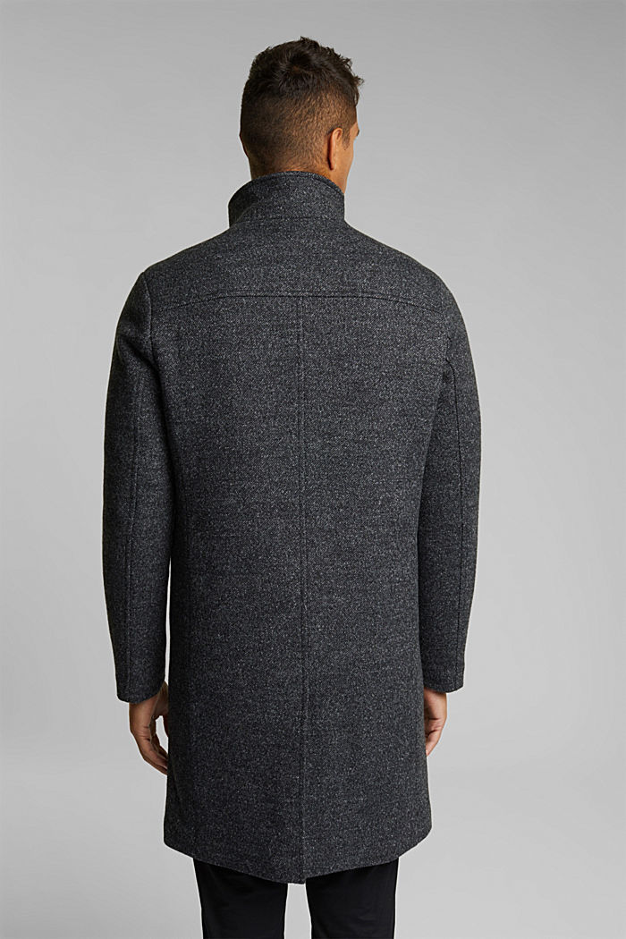 Wool blend: padded coat in a 2-in-1 look, ANTHRACITE, detail image number 3