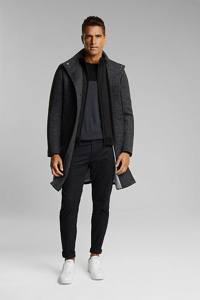 Wool blend: padded coat in a 2-in-1 look, ANTHRACITE, detail image number 1