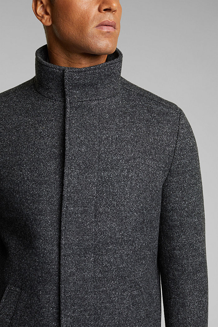 Wool blend: padded coat in a 2-in-1 look, ANTHRACITE, detail image number 2