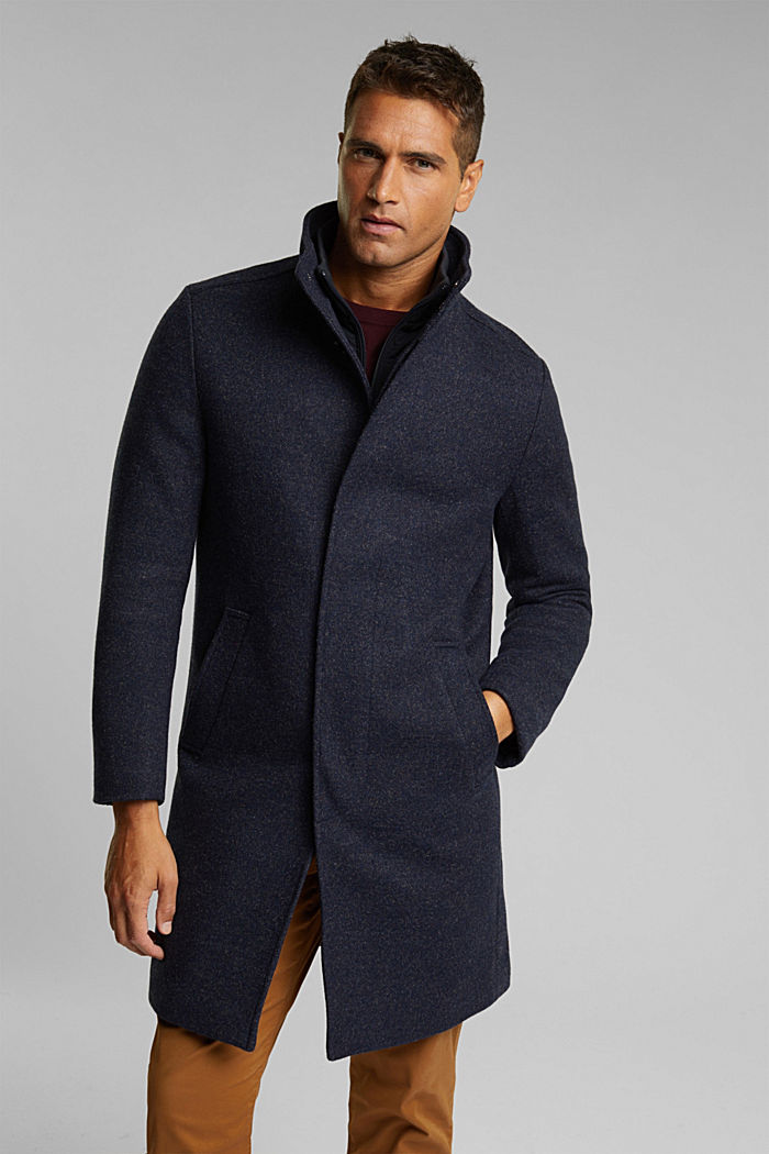 Wool blend: padded coat in a 2-in-1 look, DARK BLUE, overview