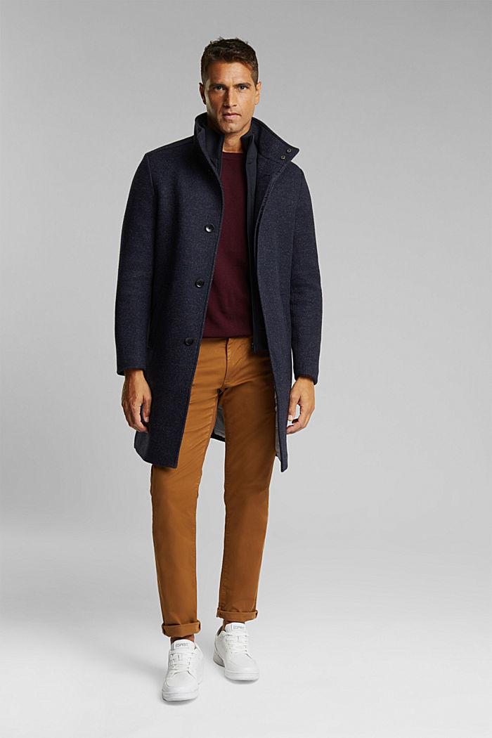 Wool blend: padded coat in a 2-in-1 look, DARK BLUE, detail image number 1